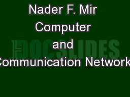 Nader F. Mir Computer and Communication Networks