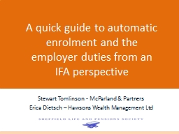 A quick guide to automatic enrolment and the employer duties from an IFA perspective