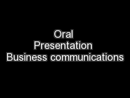 Oral Presentation Business communications
