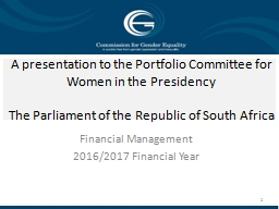 A presentation to the Portfolio Committee for Women in the Presidency