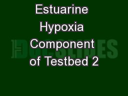 Estuarine Hypoxia Component of Testbed 2