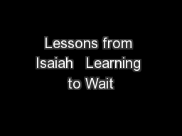 Lessons from Isaiah   Learning to Wait
