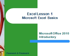 1 Excel Lesson 1 Microsoft Excel Basics