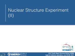 Nuclear Structure Experiment (II)