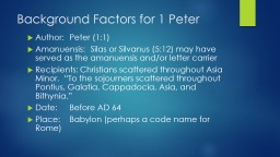 Background Factors for 1 Peter