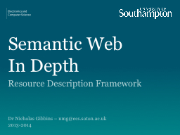 Semantic Web  In Depth Resource Description Framework PowerPoint PPT Presentation