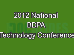 2012 National BDPA Technology Conference