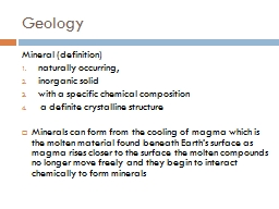 Geology Mineral (definition)