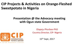 CIP Projects & Activities on Orange-Fleshed