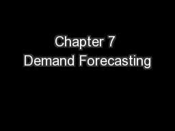 Chapter 7 Demand Forecasting