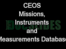 CEOS Missions, Instruments and Measurements Database