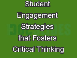 Online Student Engagement Strategies that Fosters Critical Thinking