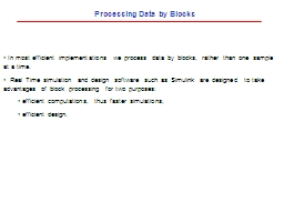 Processing Data by Blocks PowerPoint PPT Presentation
