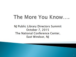 The More You Know …. NJ Public Library Directors Summit