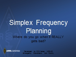 Simplex Frequency Planning PowerPoint PPT Presentation
