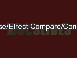 Cause/Effect Compare/Contrast