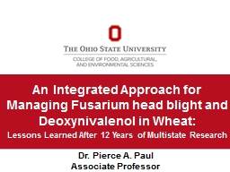 An Integrated Approach for Managing Fusarium head blight and Deoxynivalenol in Wheat