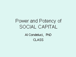 Power  and Potency of  SOCIAL CAPITAL
