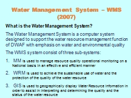Water Management  System – WMS (2007)