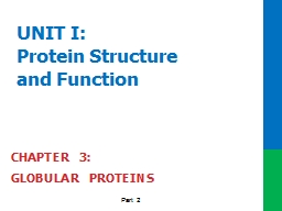 UNIT I: Protein Structure