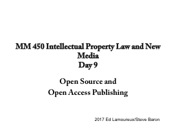 MM 450 Intellectual Property Law and New Media
