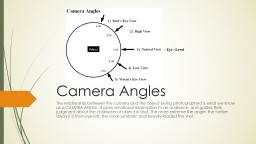 Camera Angles The relationship between the camera and the object being photographed