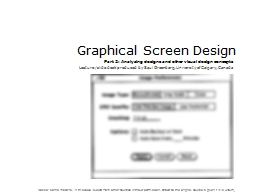 Graphical Screen Design Part 2: