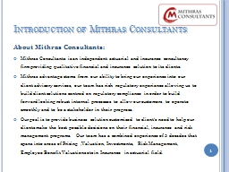 Introduction of Mithras Consultants