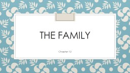The Family Chapter 12 The Family in Cross-Cultural Perspective