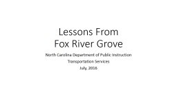 Lessons From Fox River Grove