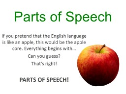 Parts of Speech If you pretend that the English language is like an apple, this would be the apple