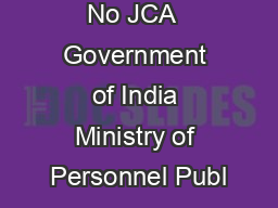 No JCA  Government of India Ministry of Personnel Publ