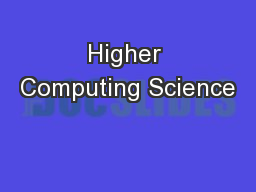 Higher Computing Science