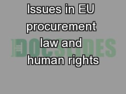 Issues in EU procurement law and human rights