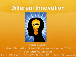 Different Innovation  Amelia Wright