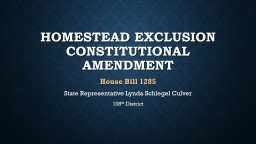 Homestead Exclusion Constitutional amendment