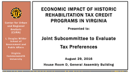 Economic Impact of Historic Rehabilitation tax credit programs in Virginia