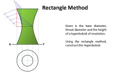 Rectangle Method Given is the base diameter, throat diameter and the height of a hyperboloid of rev