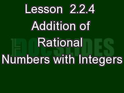 Lesson  2.2.4 Addition of Rational Numbers with Integers