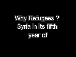 Why Refugees ? Syria in its fifth year of