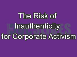 The Risk of Inauthenticity for Corporate Activism