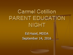 Carmel Cotillion PARENT EDUCATION NIGHT