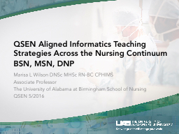 QSEN Aligned Informatics Teaching Strategies Across the Nursing Continuum