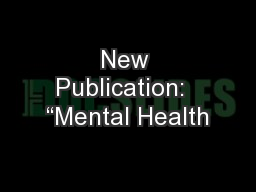 New Publication:  �Mental Health