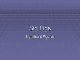 Sig Figs Significant Figures