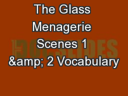 The Glass Menagerie Scenes 1 & 2 Vocabulary