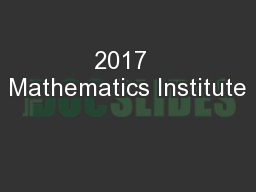 2017  Mathematics Institute