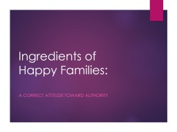 Ingredients of Happy Families: PowerPoint PPT Presentation