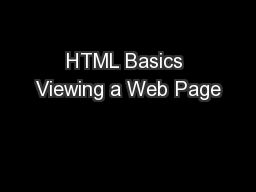 HTML Basics Viewing a Web Page