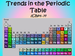 Trends in the Periodic Table PowerPoint PPT Presentation